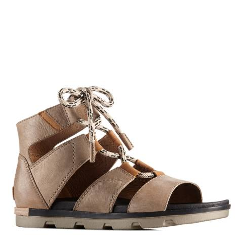 Sorel Women's Taupe Sahara Leather Torpeda Lace II Sandals