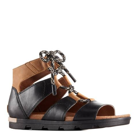 Sorel Women's Black Elk  Leather Torpeda Lace II Sandals