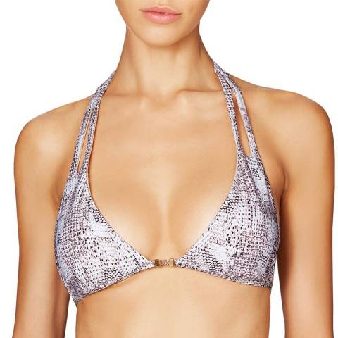 Heidi Klum Swim Grey Snake Skin Sun Dappled Decadence Halter Bikini Top