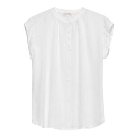 American Vintage White Famington Mandarin Collar Shirt
