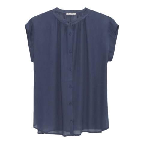 American Vintage Blue Famington Mandarin Collar Shirt