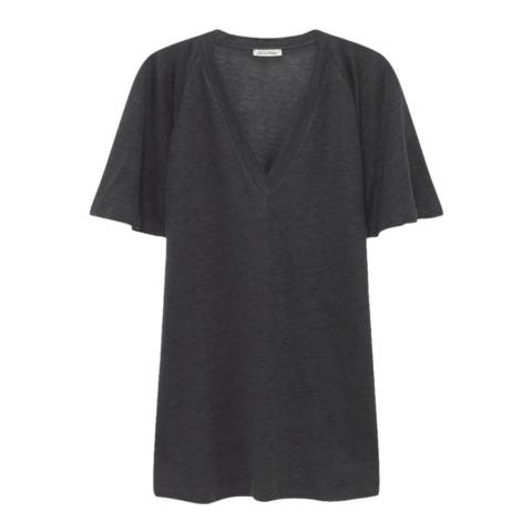 American Vintage Grey Linen Qunicy V-Neck T-Shirt