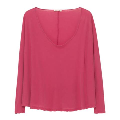 American Vintage Pink Cotton Roitown Scoop Neck Long Sleeve T-Shirt