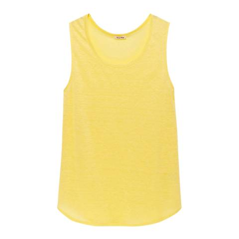 American Vintage Yellow Quincy Scoop Neck Linen Tank Top