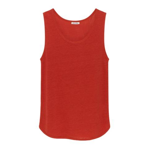 American Vintage Red Quincy Scoop Neck Linen Tank Top