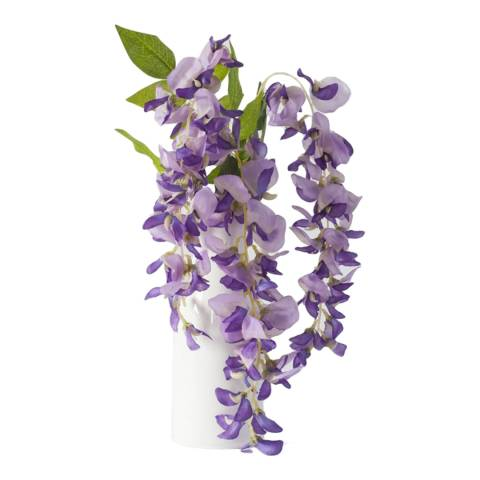 Gallery Faux Purple Wisteria in White Jug