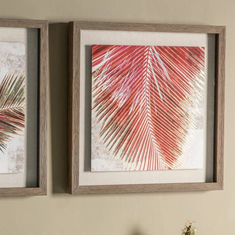 Gallery Red Palm Leaves II Framed Art 55x55cm