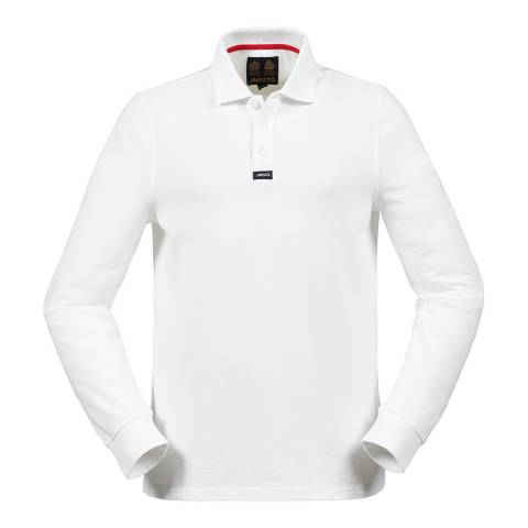 Musto White Cotton Blend Classic Pique Long Sleeve Polo Shirt