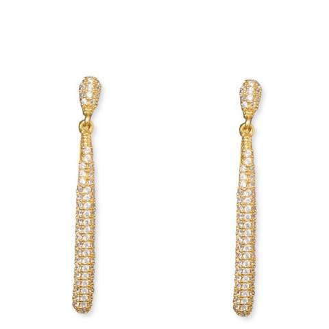 Black Label by Liv Oliver Gold Pave Cz Drop Earrings