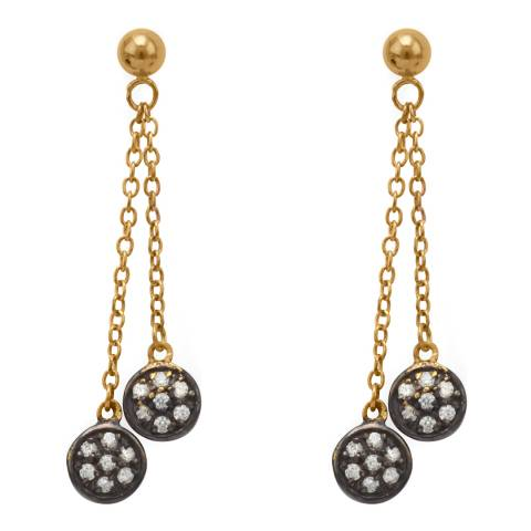 Black Label by Liv Oliver Gold Cubic Zirconia Drop Earrings