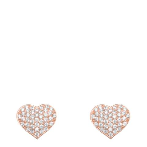 Chloe Collection by Liv Oliver Rose Gold Heart Pave Cz Stud Earrings