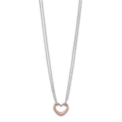 Chloe Collection by Liv Oliver Rose Gold/Silver Heart Necklace