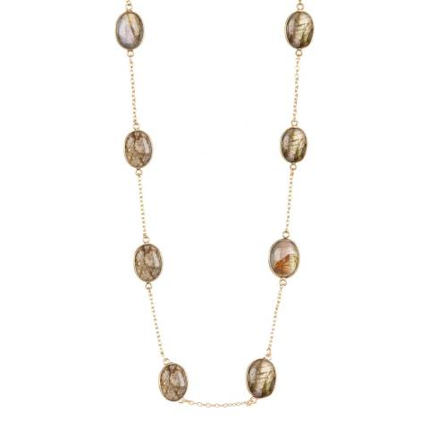 White label by Liv Oliver Plated Sterling Silver Gold Labradorite Necklace