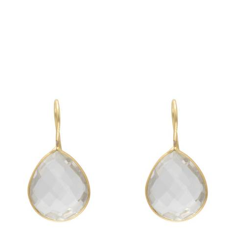 Liv Oliver Gold Clear Quartz Pear Drop Earrings