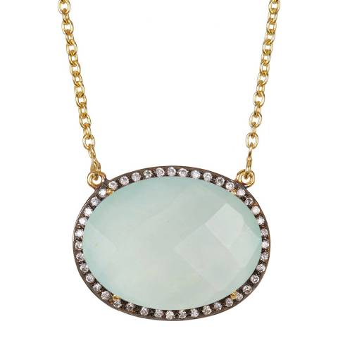 Liv Oliver Gold Sea Green Chalcedony and Cz Oval Necklace
