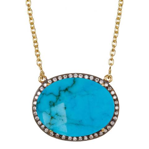 Liv Oliver Gold Turquoise and Cz Necklace