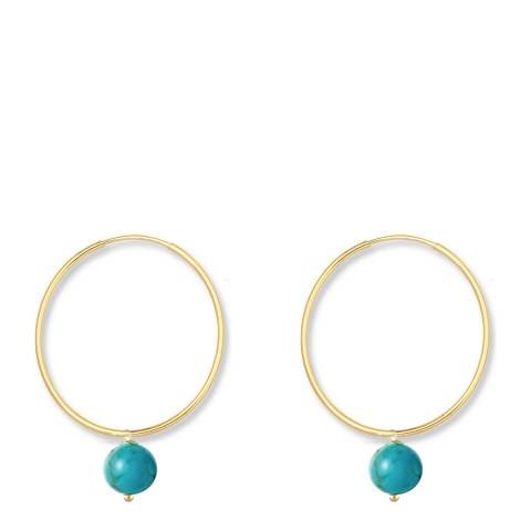 Liv Oliver Gold Plated Turquoise Drop Hoop Earrings