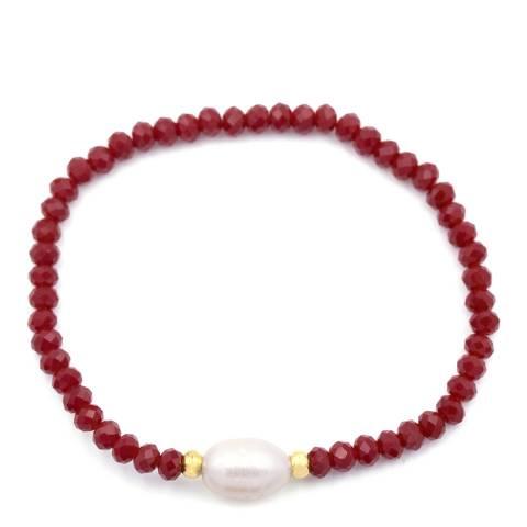 Liv Oliver Red Onyx and Pearl Gemstone Bracelet