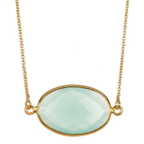 Liv Oliver Gold Sea Green Chalcedony Necklace