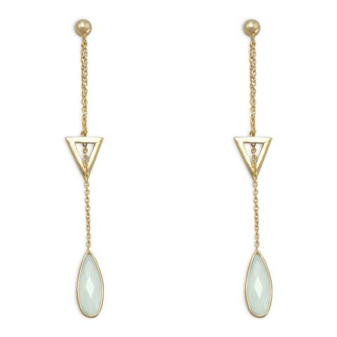 Liv Oliver Gold Chalcedony Chain Drop Earrings