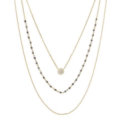 Liv Oliver Gold Labradorite and Cz Multi Strand Necklace