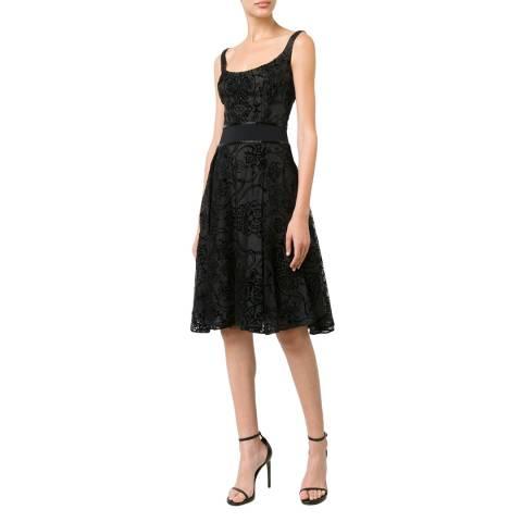Marchesa Black Lace Flared Silk Dress