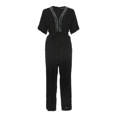 French Connection Navy Karlo Embellished Tie Waist Jumpsuit