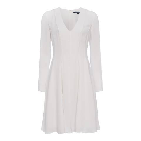 French Connection White Modern Kantha Drape V Neck Dress
