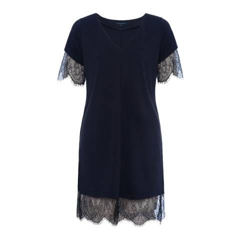 French Connection Navy/Black Swift Drape V Neck Tunic Dress