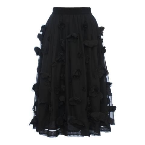 French Connection Black Agnes Floral Applique Midi Skirt