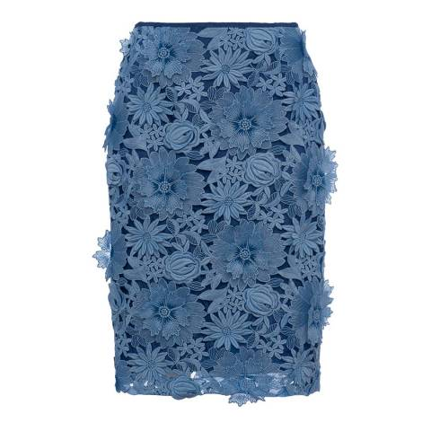 French Connection Blue Manzoni 3D Floral Lace Pencil Skirt