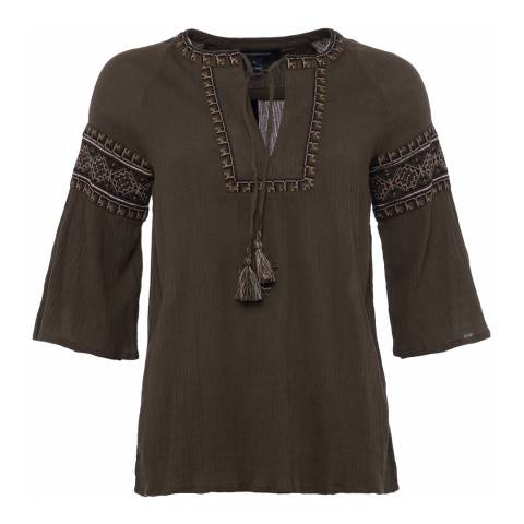 French Connection Green Adanna Crinkle Embroidered Smock Top