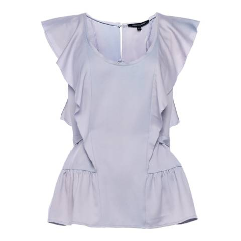 French Connection Blue Nia Drape Fluted Front Top
