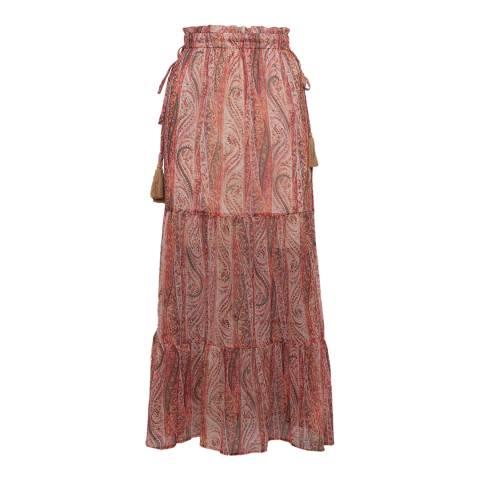 French Connection Apricot Malika Sheer Tiered Midi Skirt