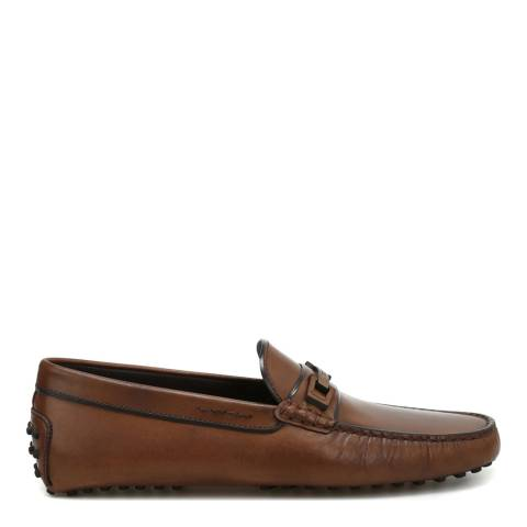 Tod's Men's Brown Leather Gommino Driving Shoes