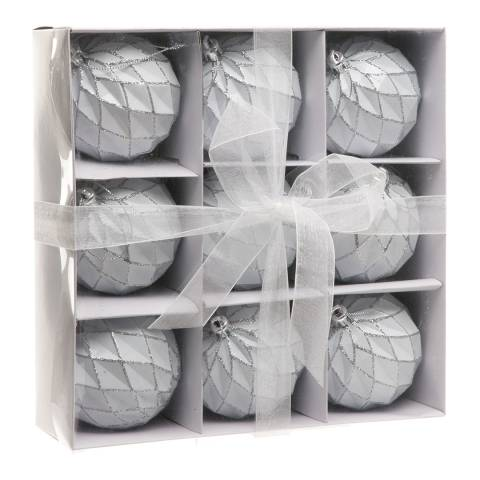 Festive White Pillow Ball Baubles 8cm x 9