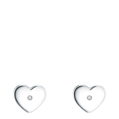Tess Diamonds Heart Silver Earrings