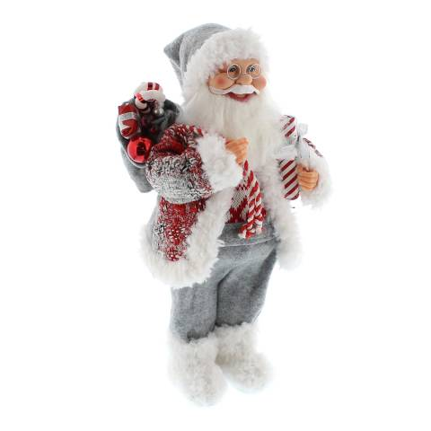 Festive 40cm standing candy stripe Santa