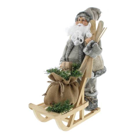 Festive Grey Santa and Sledge 45cm