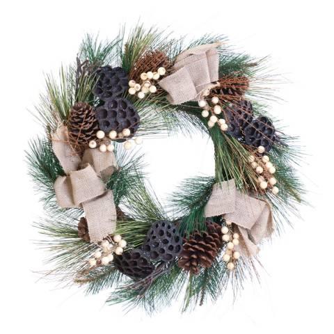 Festive Pink/Multi Cone Snowberry Wreath 60cm