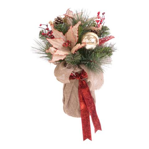 Festive Red Berry Poinsettia Table Decoration