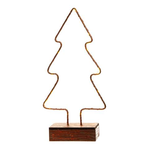Festive Bronze Battery Operated Lit Copper Wire Tree 16cm