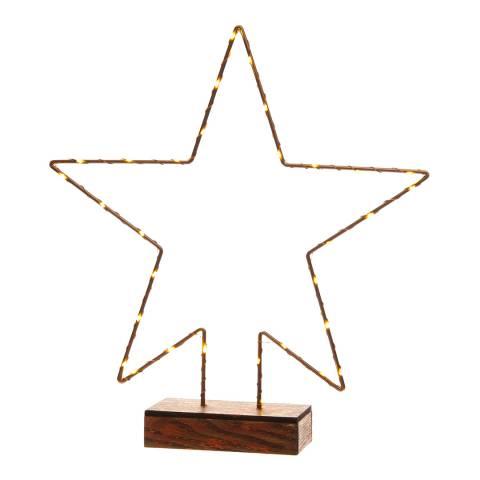 Festive Bronze Battery Operated Lit Copper Wire Star 32cm