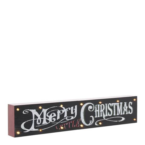 Festive Black Battery Operated LED Merry Christmas Sign 38cm