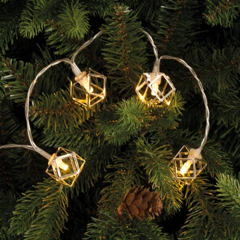 Festive Silver/White 10 Battery Operated silver geometric ball lights