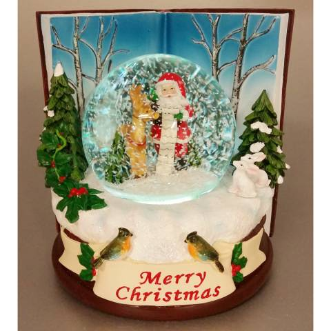 Festive Multi Battery Operated Book Scene LED Snowglobe 16cm