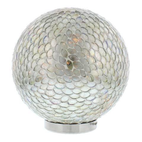 Festive Silver LED Crackle Effect Lit Ball 20cm