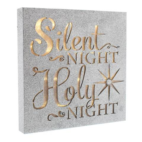 Festive Silver/Glitter Battery Operated Wooden 'Silent Night' Sign 30cm