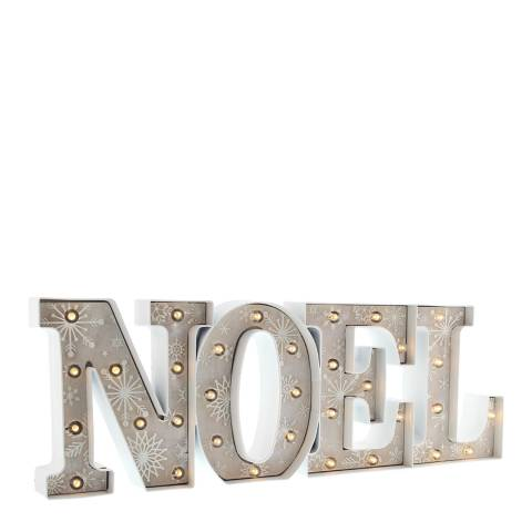 Festive Grey/Warm White Battery Operated Lit Noel Snowflake Sign 60cm