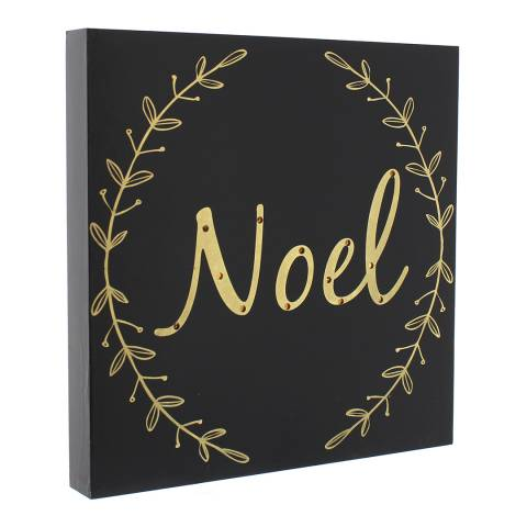 Festive Black/Gold Print Battery Operated Lit Noel Sign 30cm